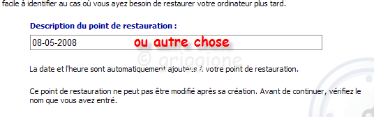 point de restauration